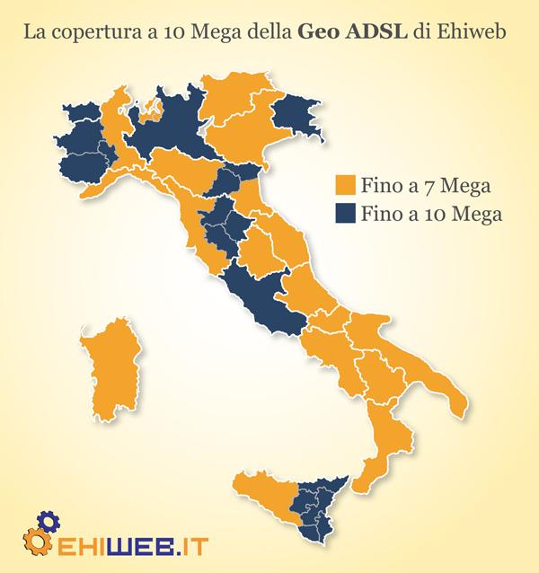 La copertura della Geo ADSL di Ehiweb (rilevamento del 01/02/2011)