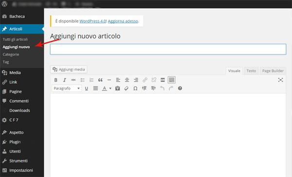 Aggiungere un nuovo articolo in WordPress